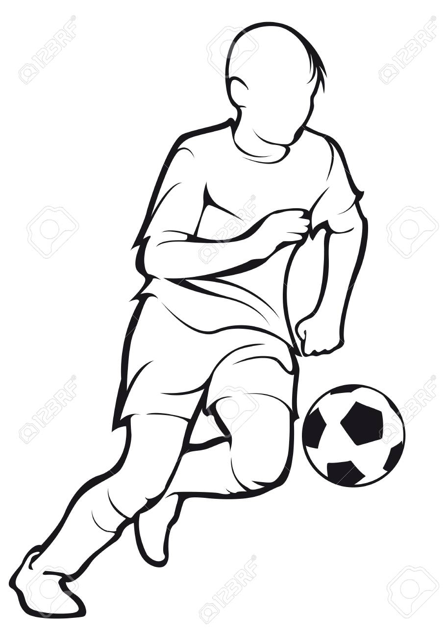 Child Plays Football Royalty Free Cliparts Vectors And Stock Illustration Image 90370081