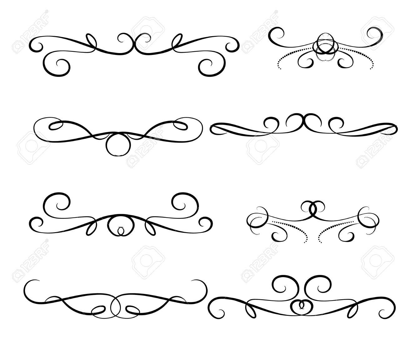 Set of decorative florish dividers borders - 124407038
