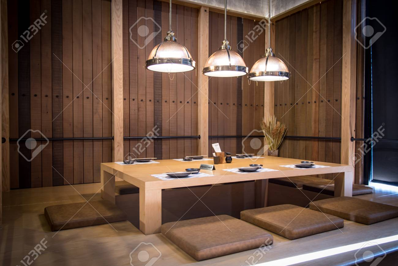 Japanese Style Restaurant Wood Table Center And Cushions And Stock Photo Picture And Royalty Free Image Image 93737575