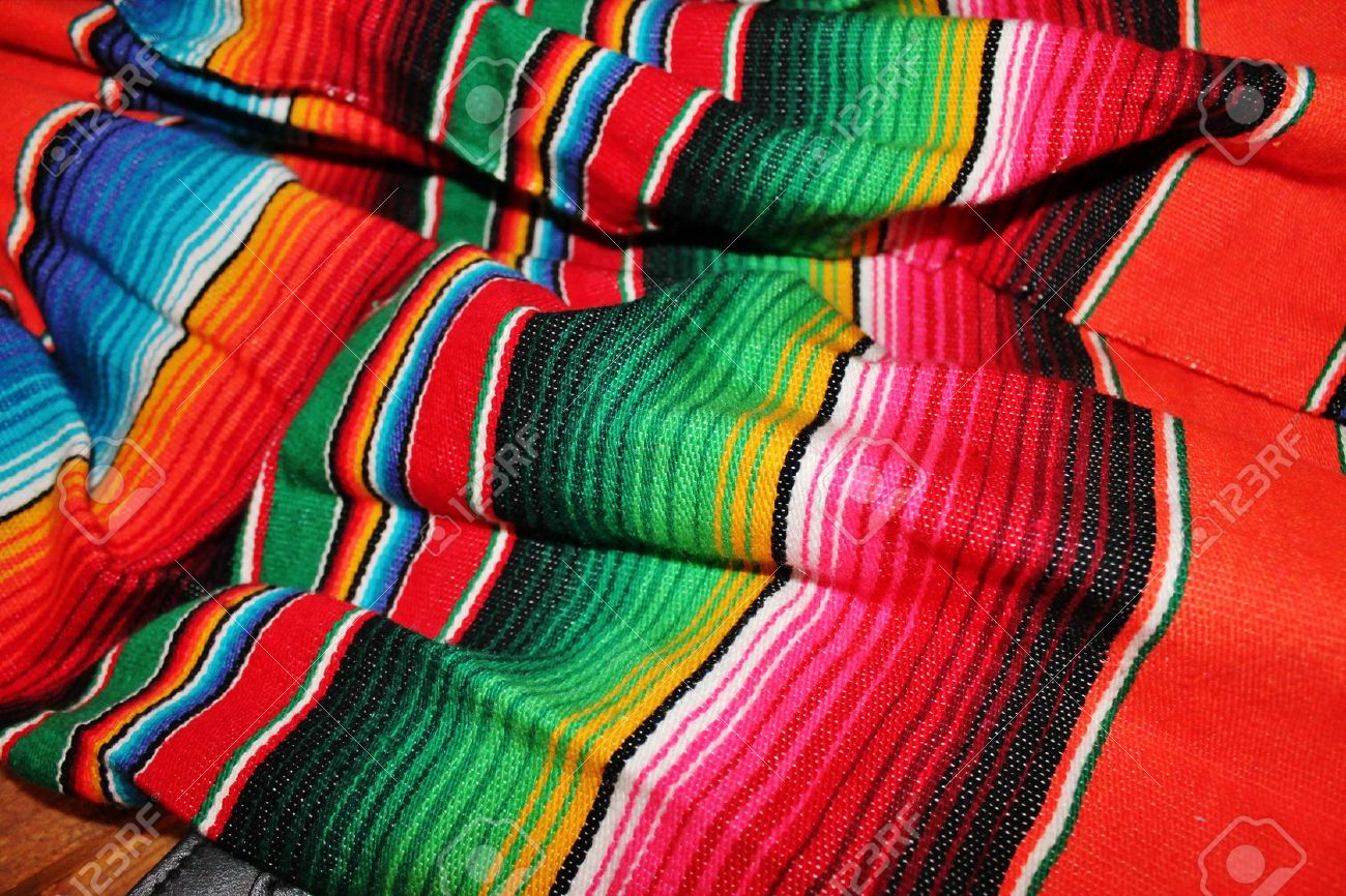 Traditional Mexican Rug Hand Woven In Bright Colors For Fiesta Stock Photo    24587235