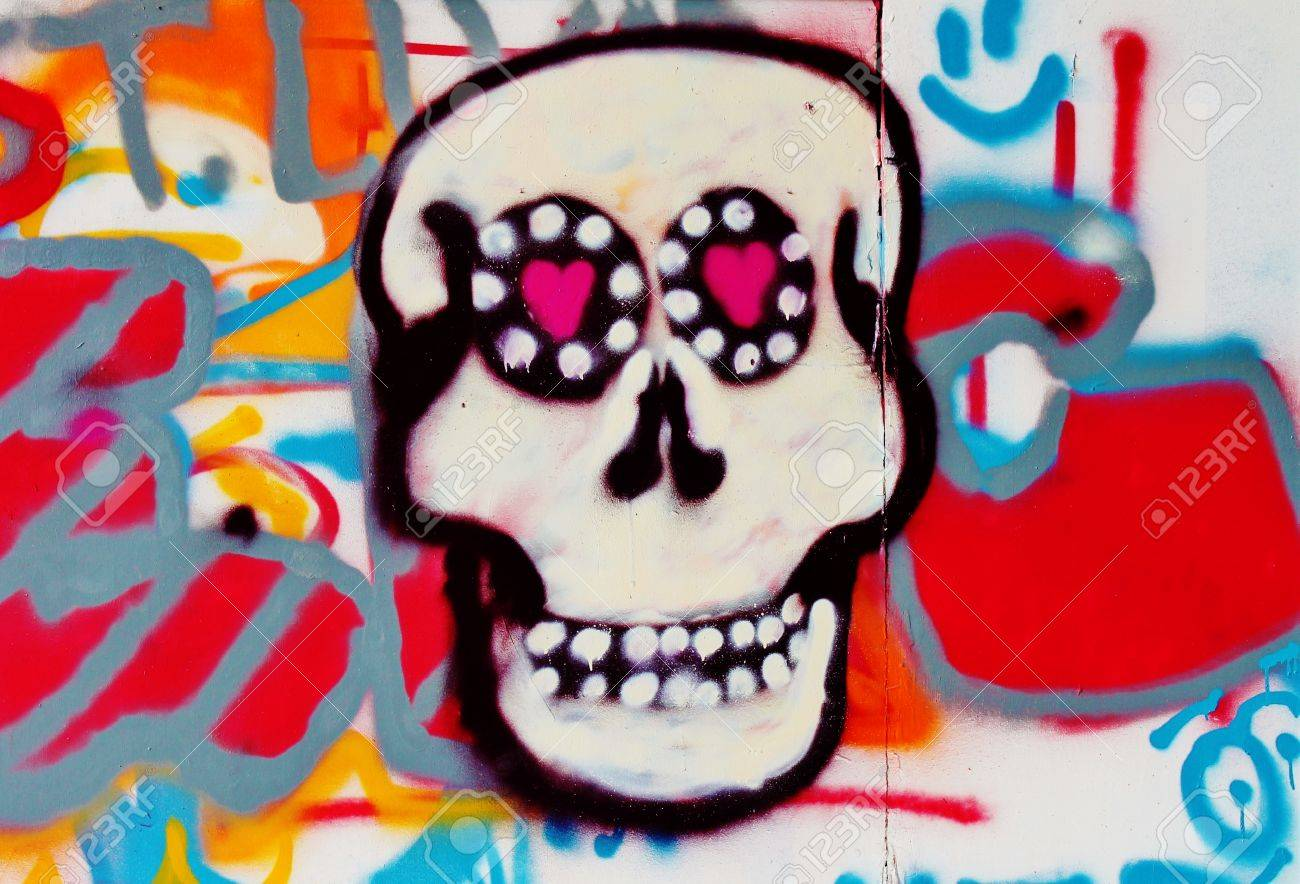 Candy Skull Graffiti Wall Deralict Building London Stock Photo