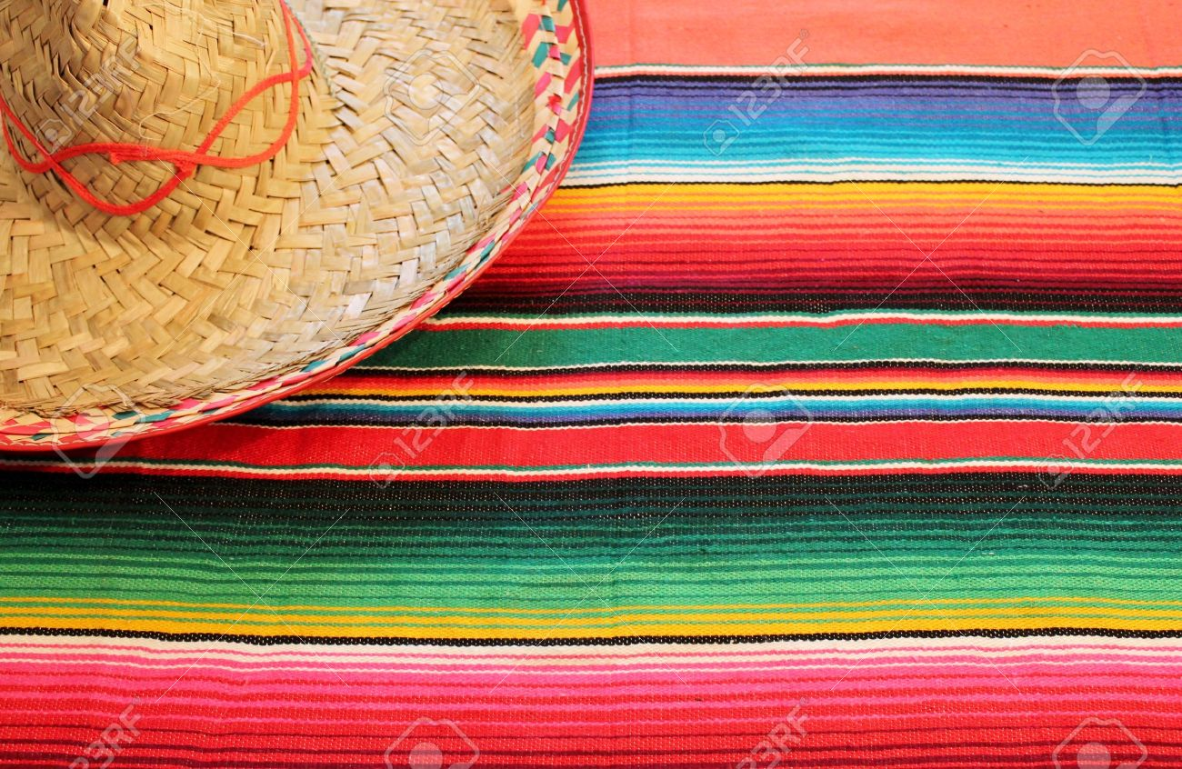 Traditional Mexican Fiesta Poncho Rug In Bright Colors With Stock