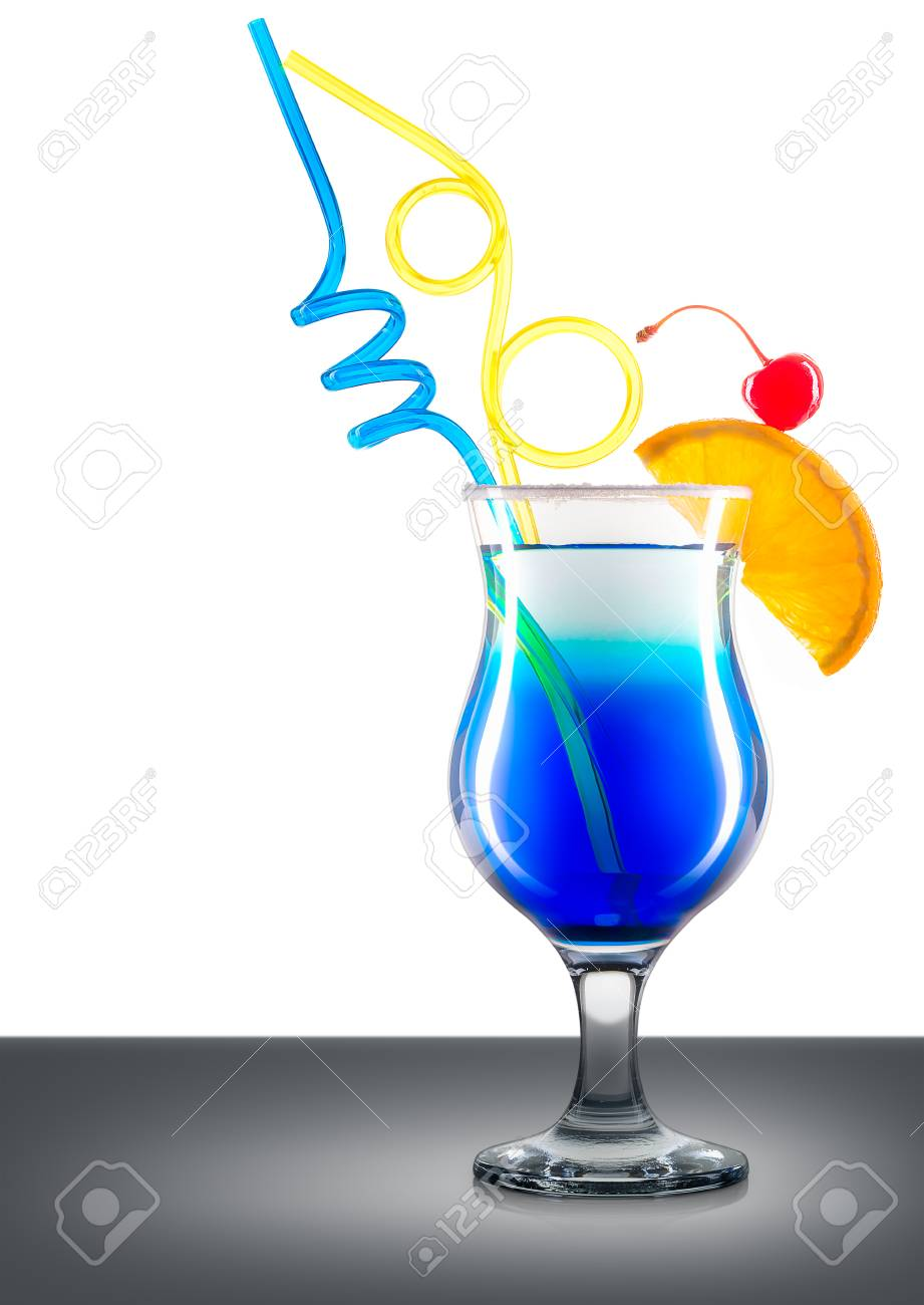 Blue Curacao Cocktail Or Mocktail In Classic Glass With Orange