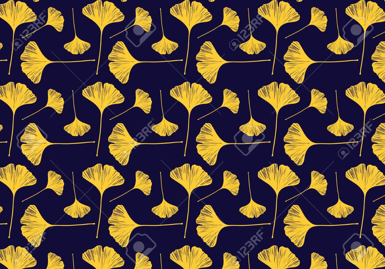 Hand Drawn Ginkgo Leaves Vector Pattern In A Gold Color Palette