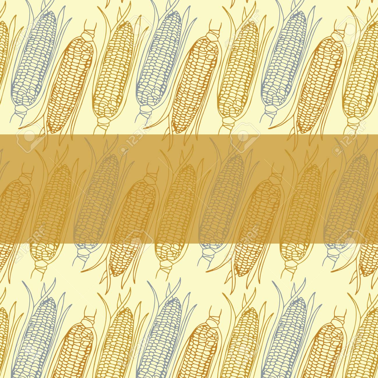 hand drawn corn cobs pattern invitation thank you event vector