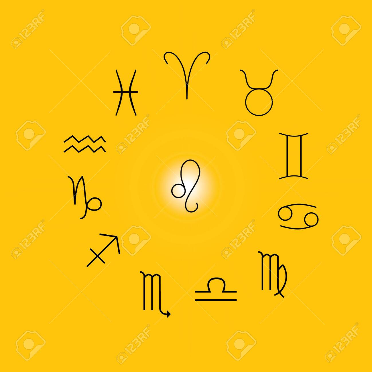 Astrological Signs Symbols Of Zodiac Horoscope Astrology And Royalty Free Cliparts Vectors And Stock Illustration Image 122589465