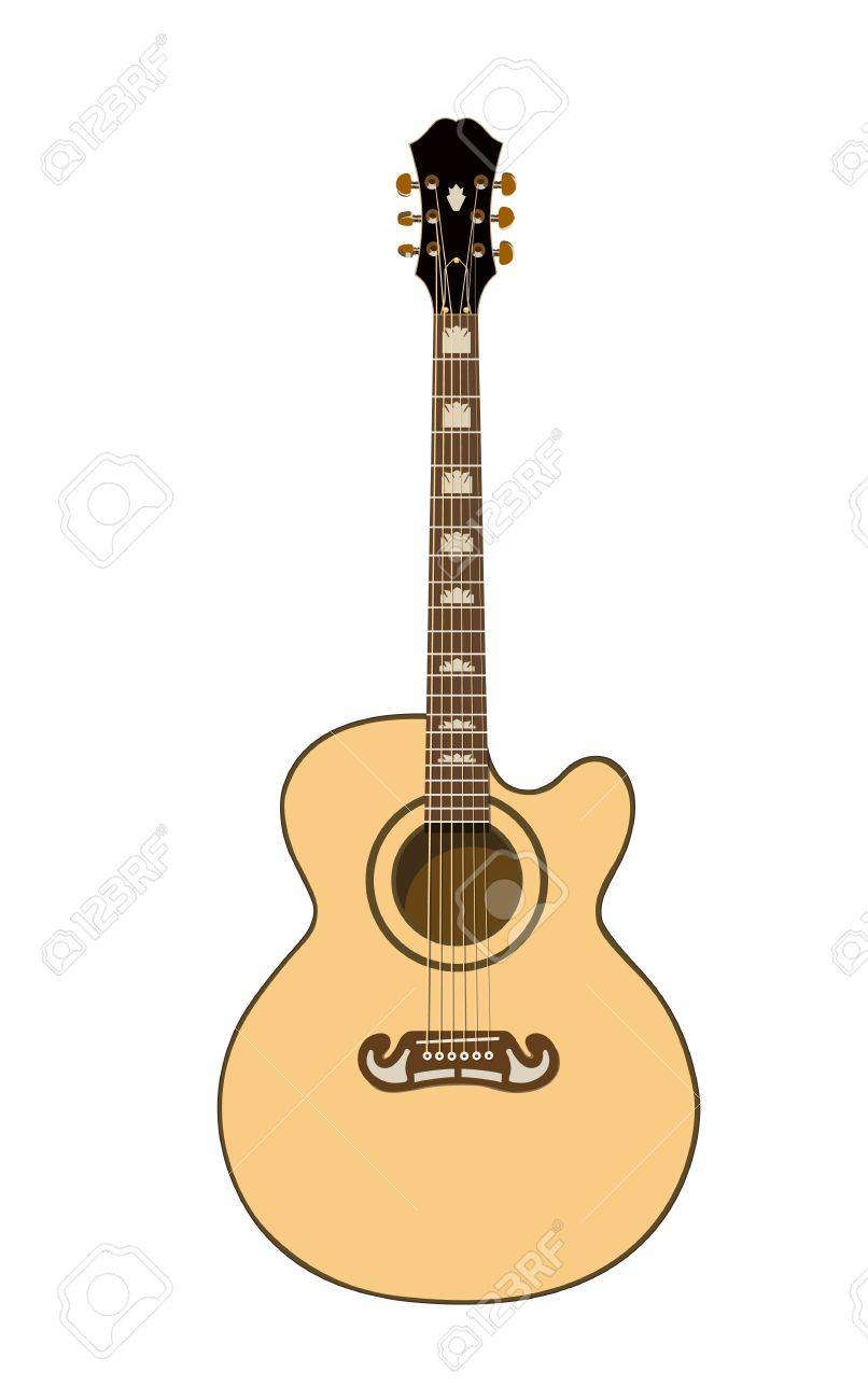Beautiful Acoustic Guitar In Color On A White Background Royalty