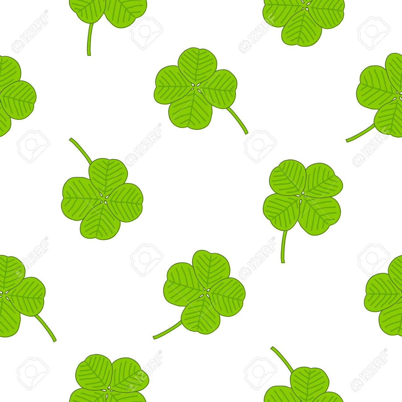 seamless pattern of the four leaf clover on a white background
