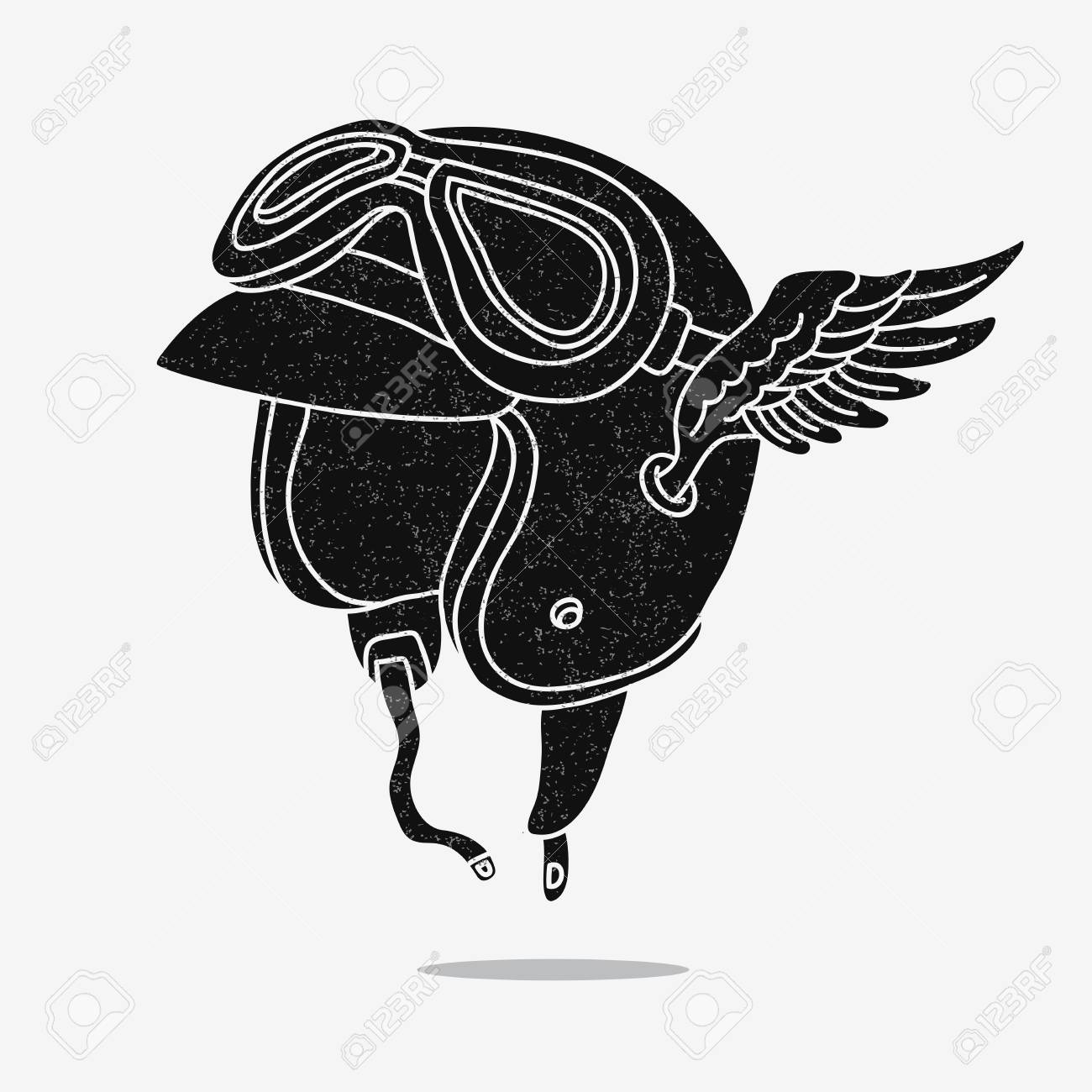 751d3a5131 Motorcycle helmet with goggles and wings. Vector illustration on a gray  background. Stock Vector