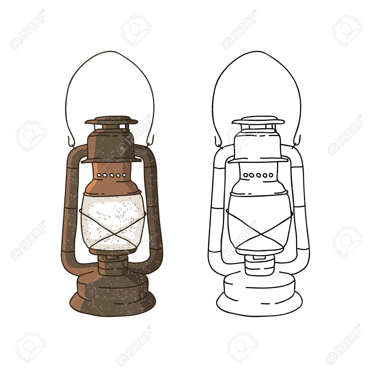 Old Lamp Vector Illustration On White Background Stock