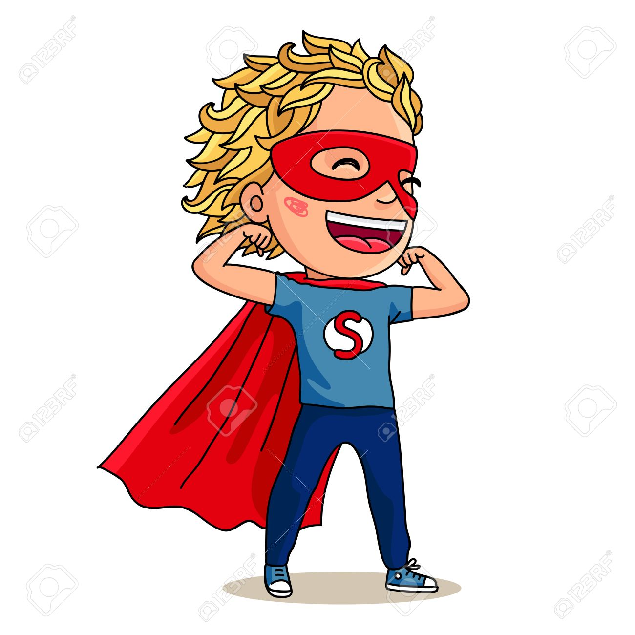 Super Kid. Super Boy. A Boy Dressed As Superman, In A Red Mask ...