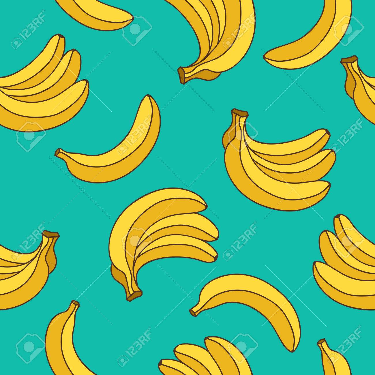 Seamless vector pattern of yellow bananas on a blue background. - 53774069