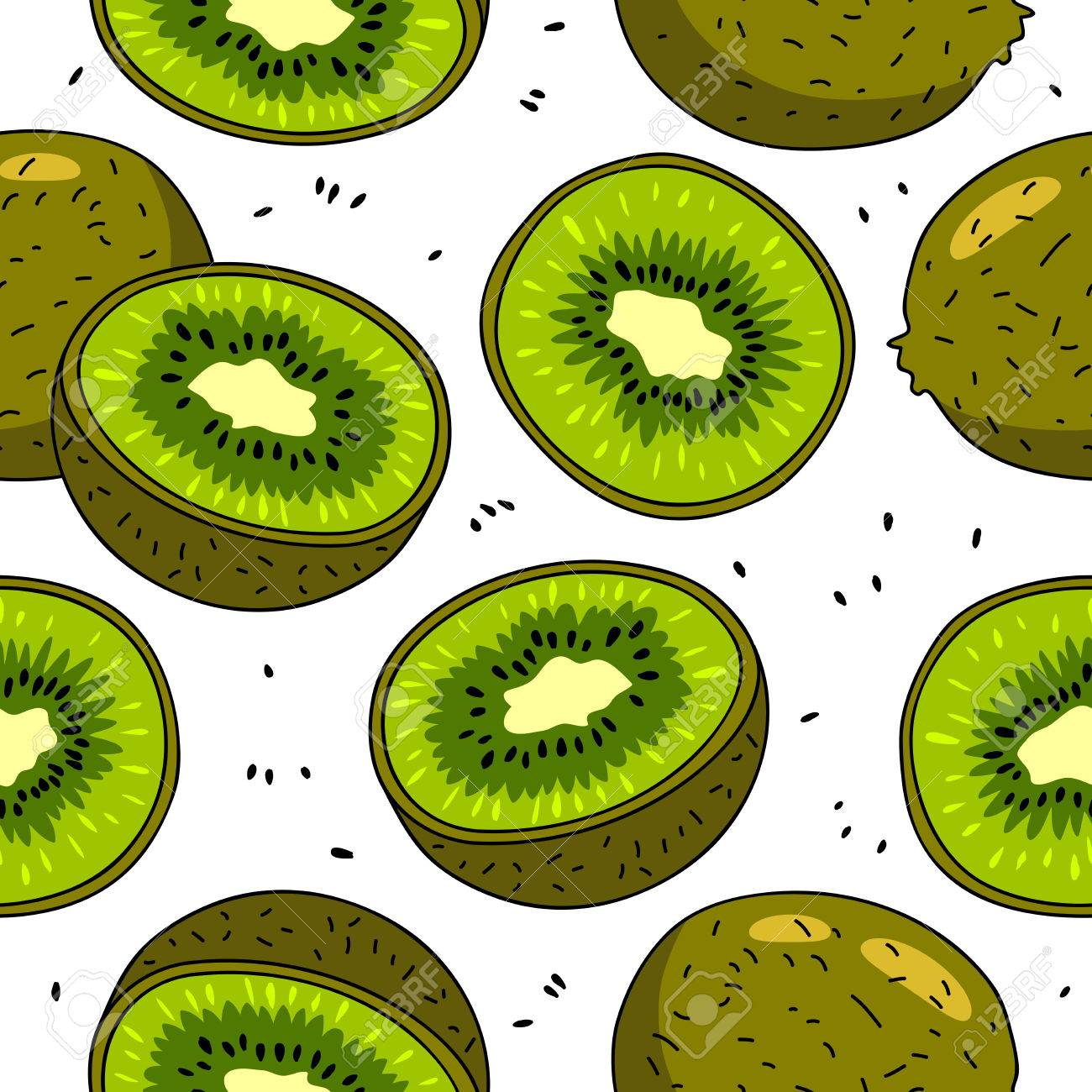 Seamless vector pattern of kiwi fruit on a white background. - 53742000