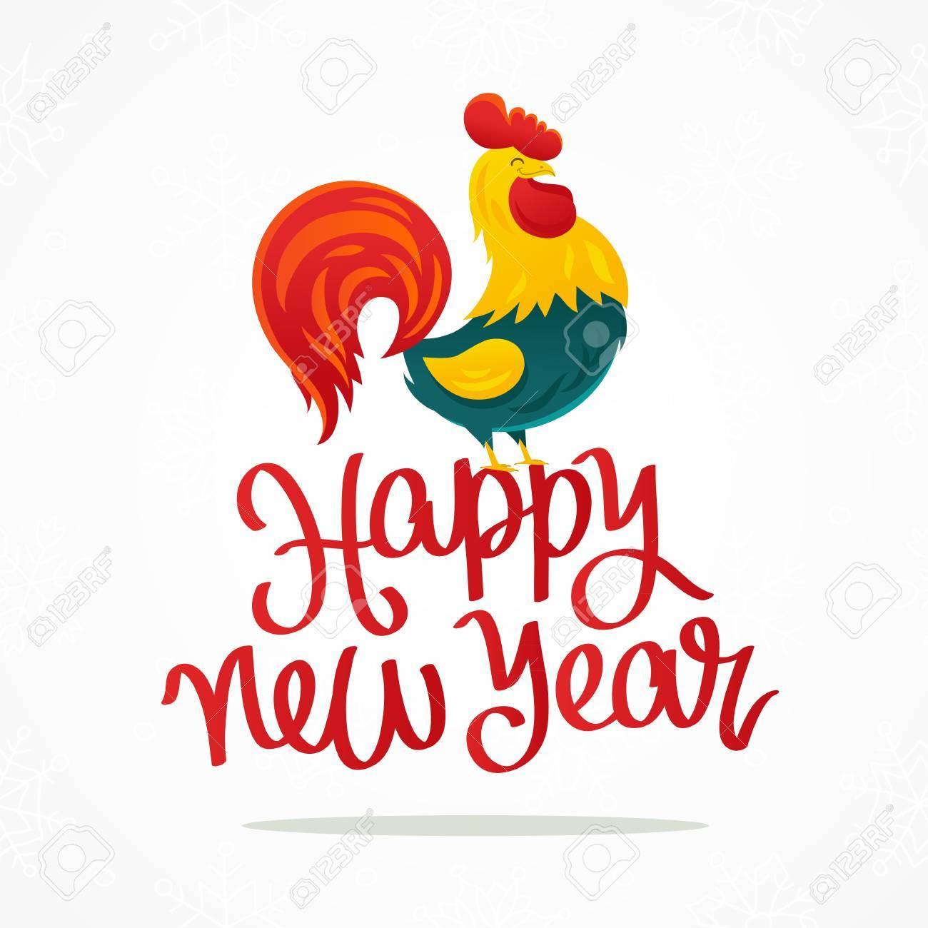 Zitat Glückliches Neues Jahr. Der Trend Kalligraphie. Cartoon ...