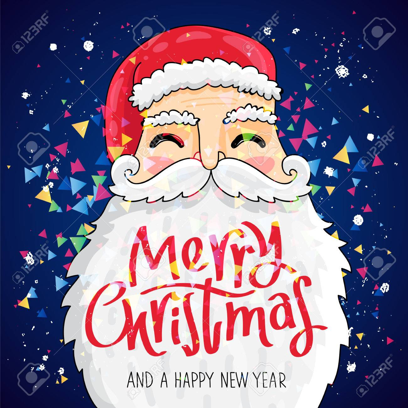 Lovely Quote Merry Christmas And A Happy New Year. The Trend Calligraphy. Santa  Claus With