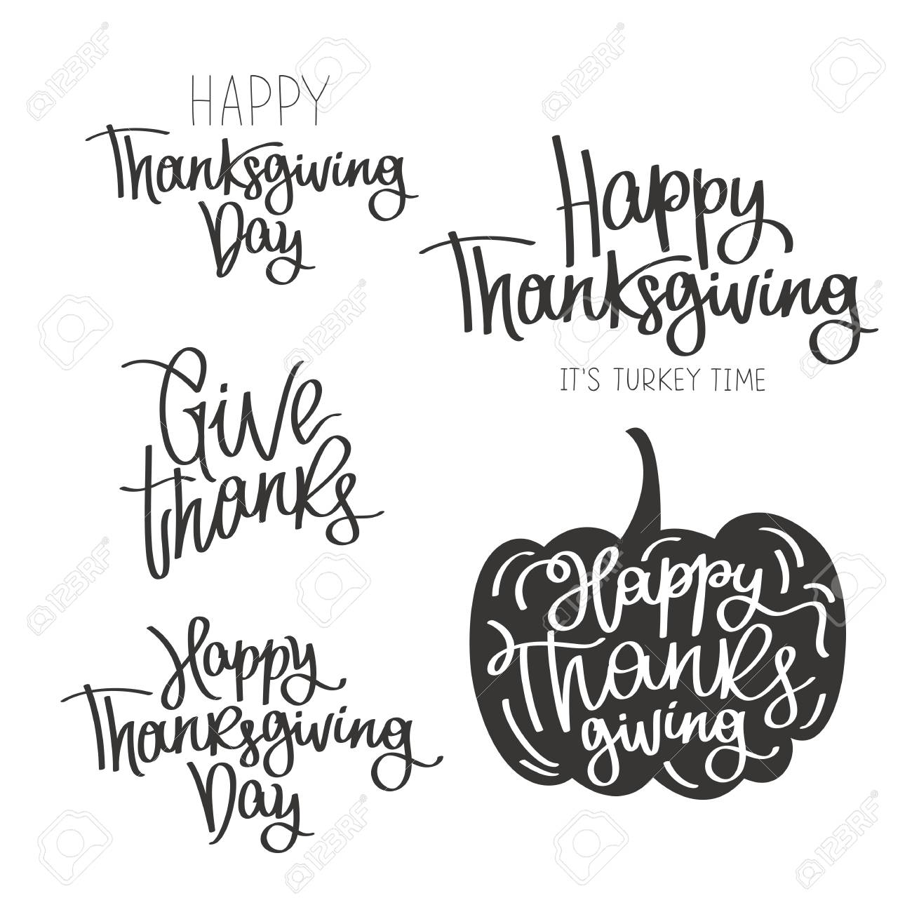 Set Of Quotes To The Happy Thanksgiving Day The Trend Calligraphy Vector Illustration On