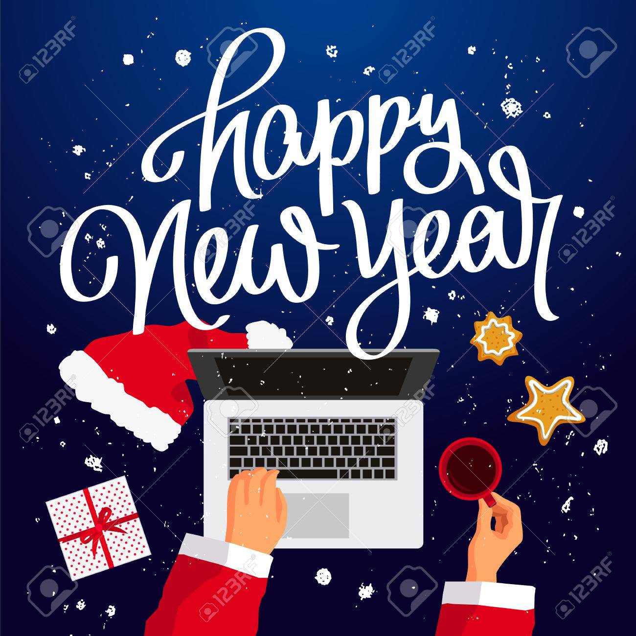 Quote Happy New Year. Santa Claus At His Laptop. Cup Of Coffee, Gift