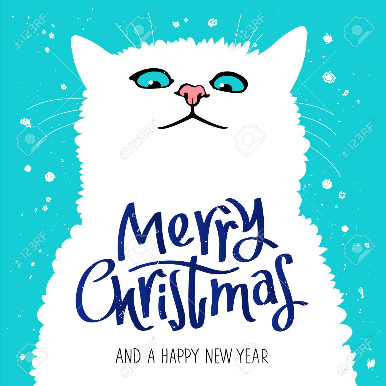 Cat Stock Quote Figure Cute Catquote Merry Christmas And A Happy New Year