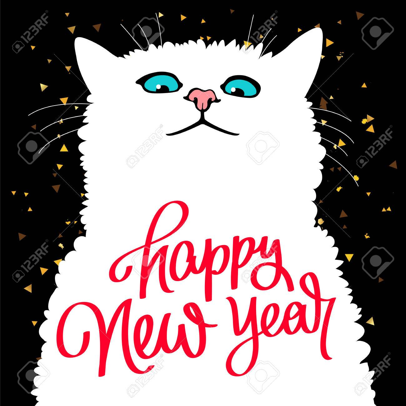 cute cat quote happy new year trend calligraphy great holiday gift card