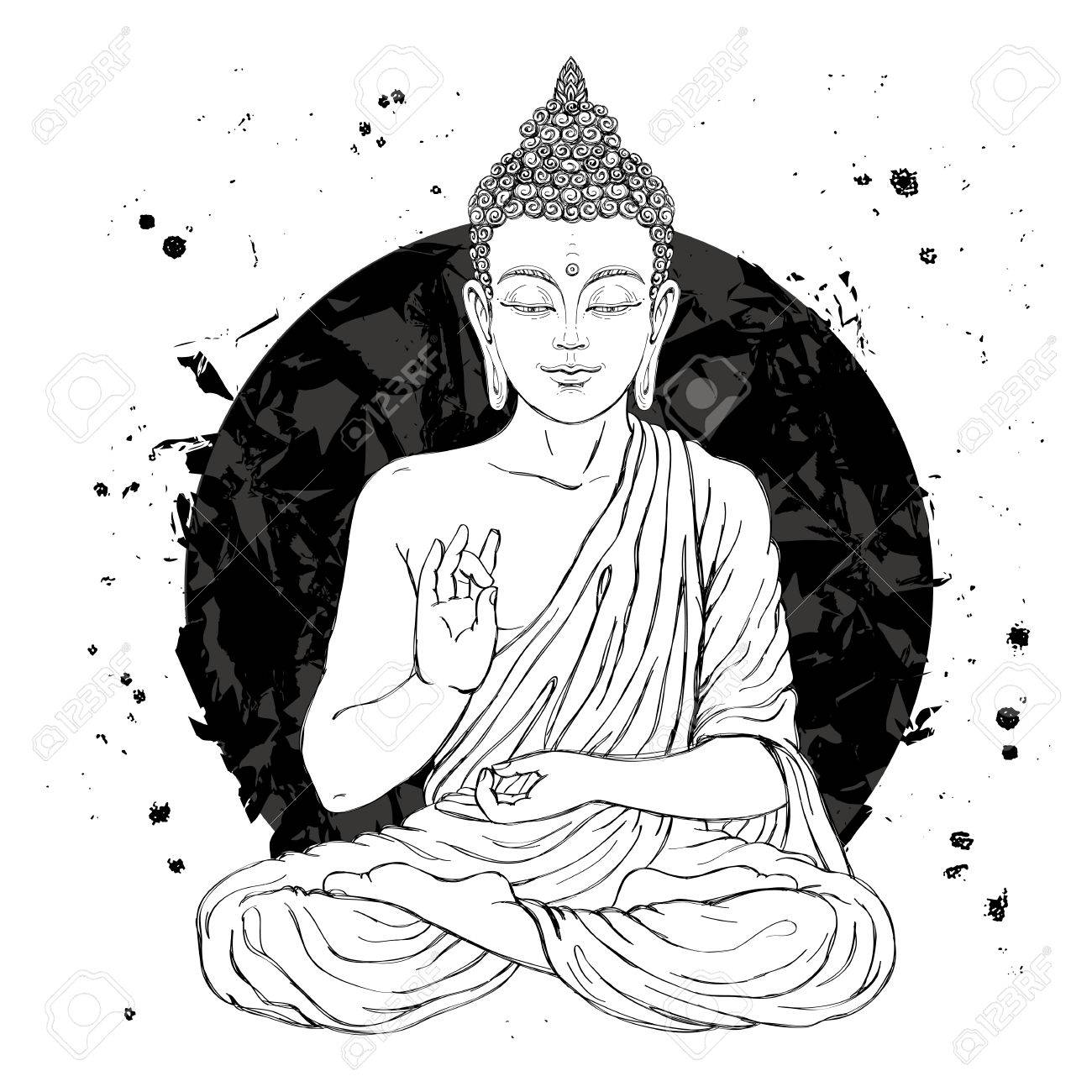 Seated buddha in the lotus position vector illustration on white background with a smear of
