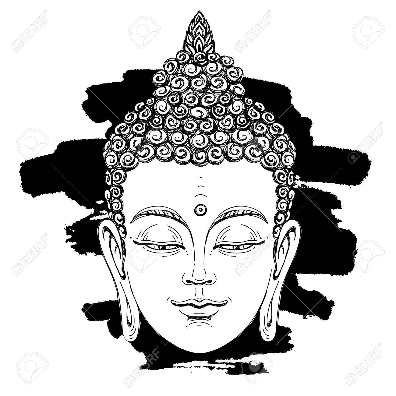 Portrait of a buddha vector illustration on white background with a smear of ink black