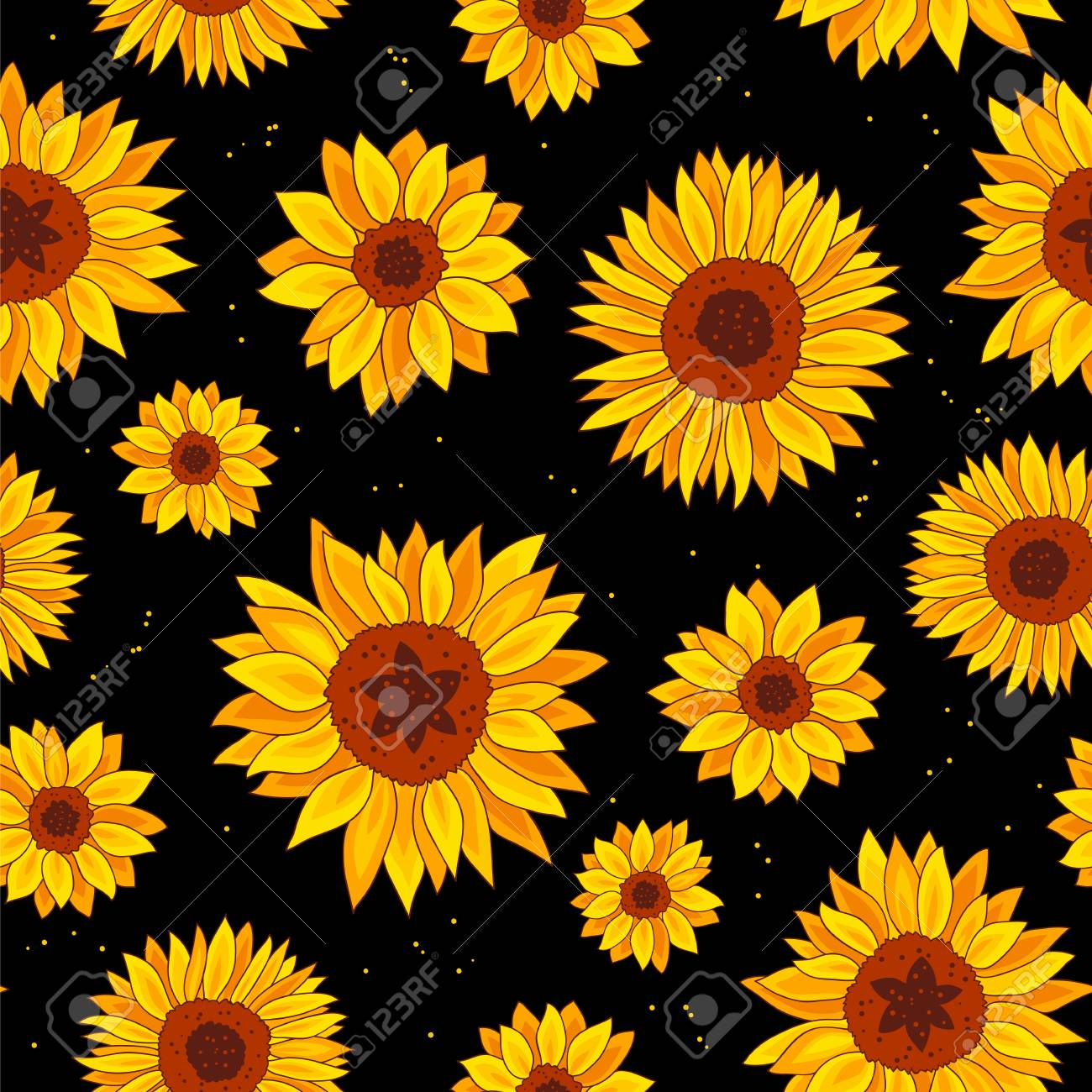 71855655 seamless vector pattern of sunflowers on a black background wrapping paper summer print