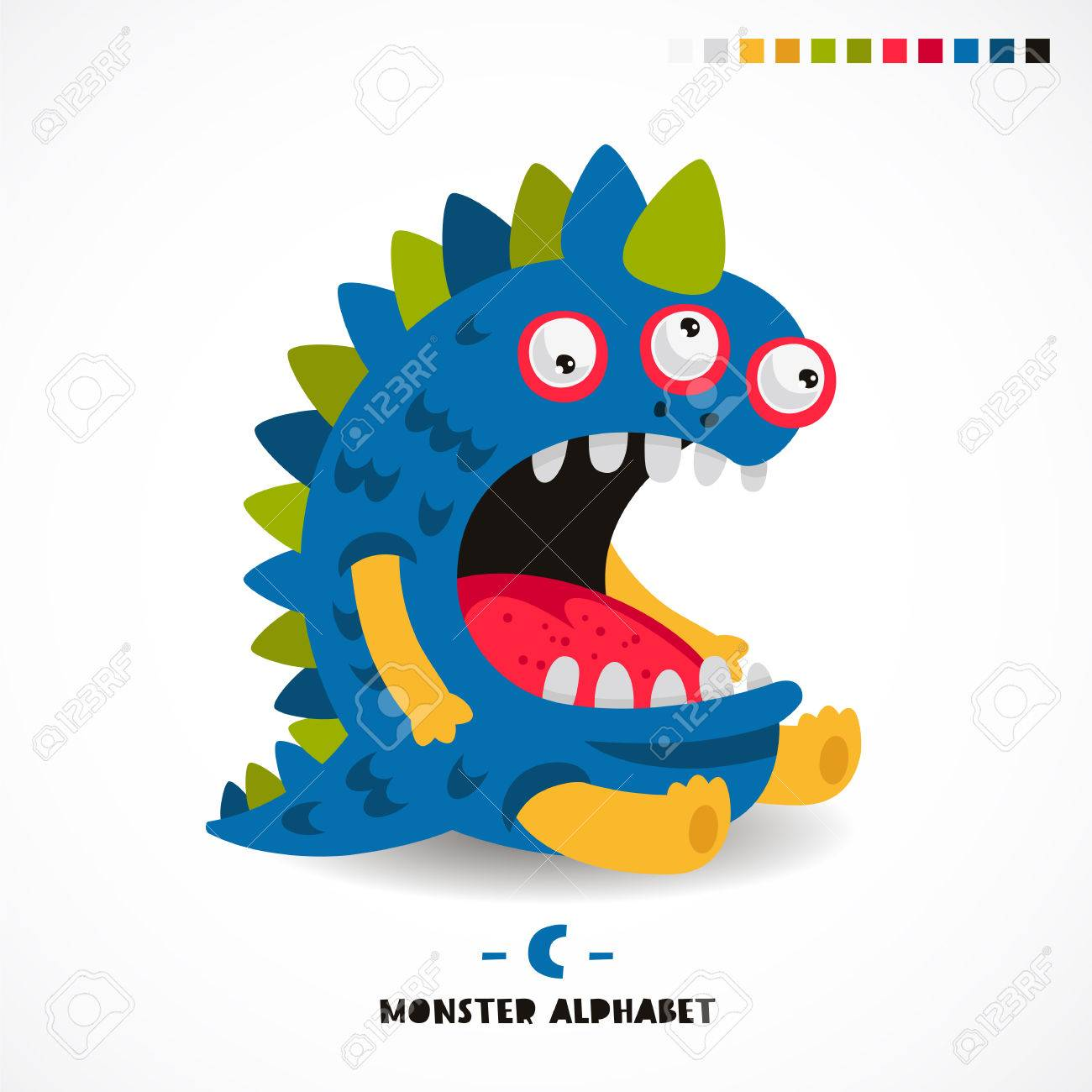 monster alphabet letter c strange animal vector illustration