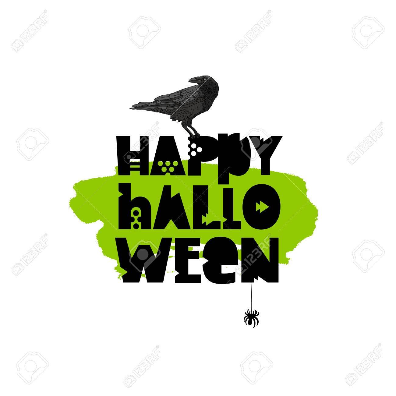 Feliz Halloween. Ilustración Vectorial Sobre Un Fondo Blanco Con Una ...