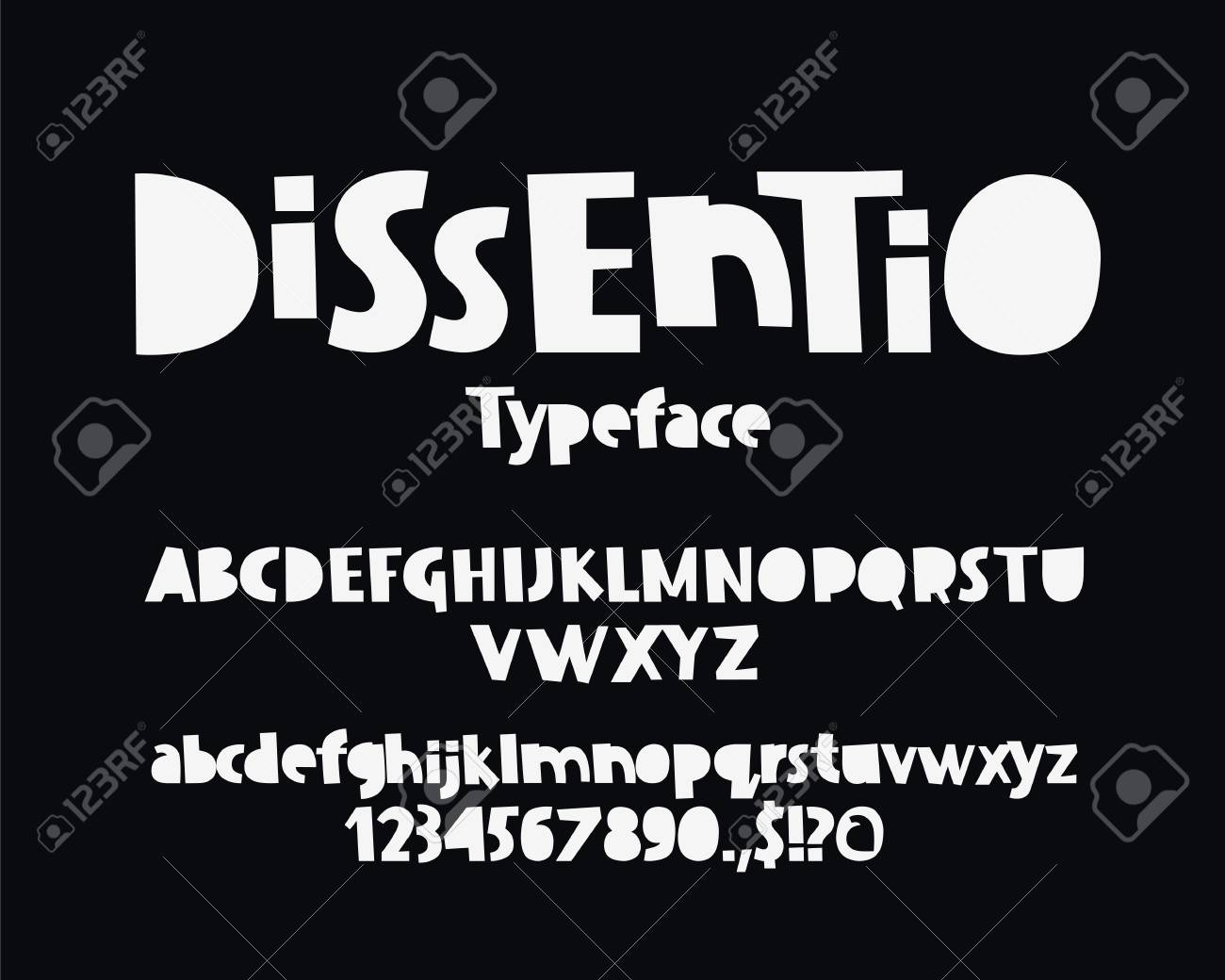 Kids Modern Vector Font On Black Background Uppercase And Lowercase
