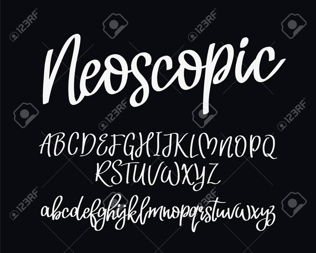 Stylish modern vector font on black background  Uppercase and