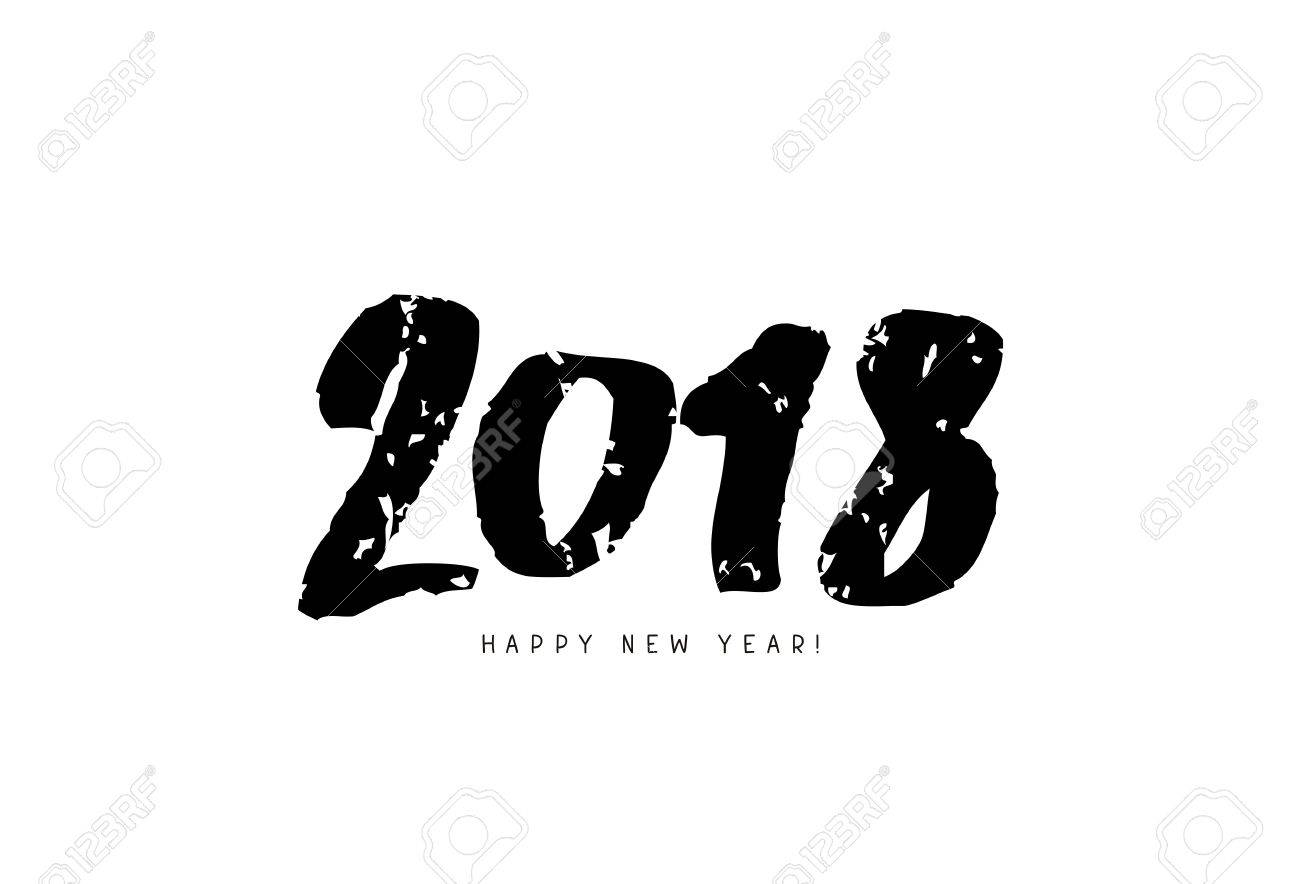 happy new year 2018 stylish font lettering on a white background stock vector 83094654