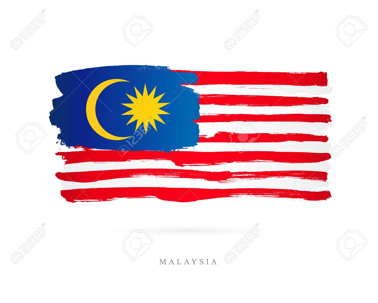 Flag of Malaysia. Vector illustration on white background. Beautiful brush strokes. Abstract concept. Elements for design. - 86628152
