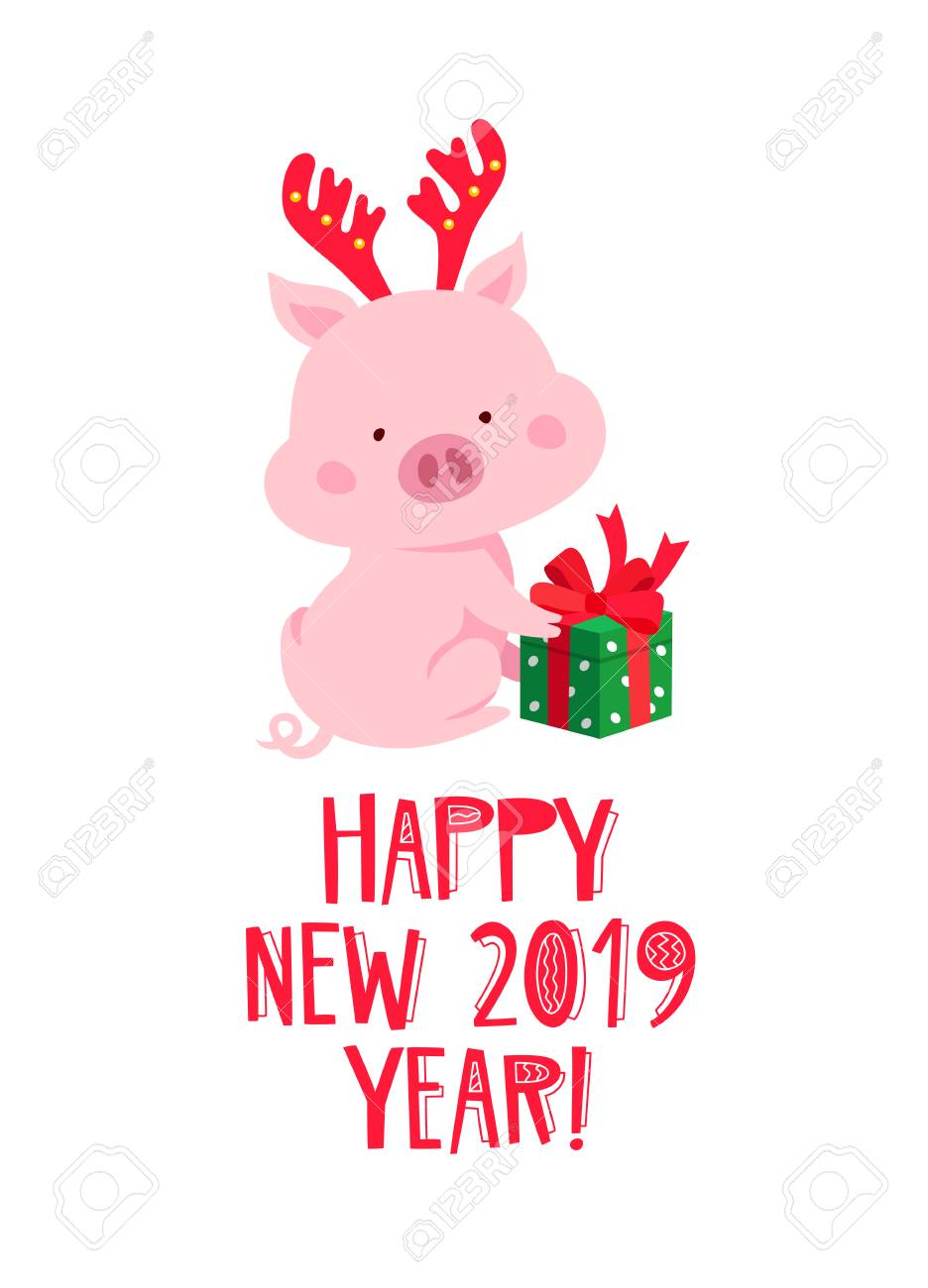cute pig with antlers and a gift box happy new year chinese symbol of