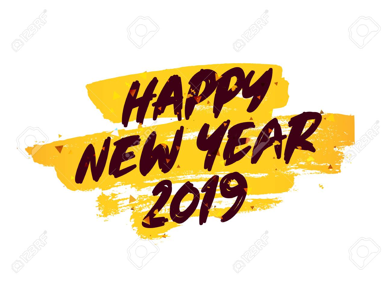 happy new year 2019 lettering vector illustration on a white background with a smear