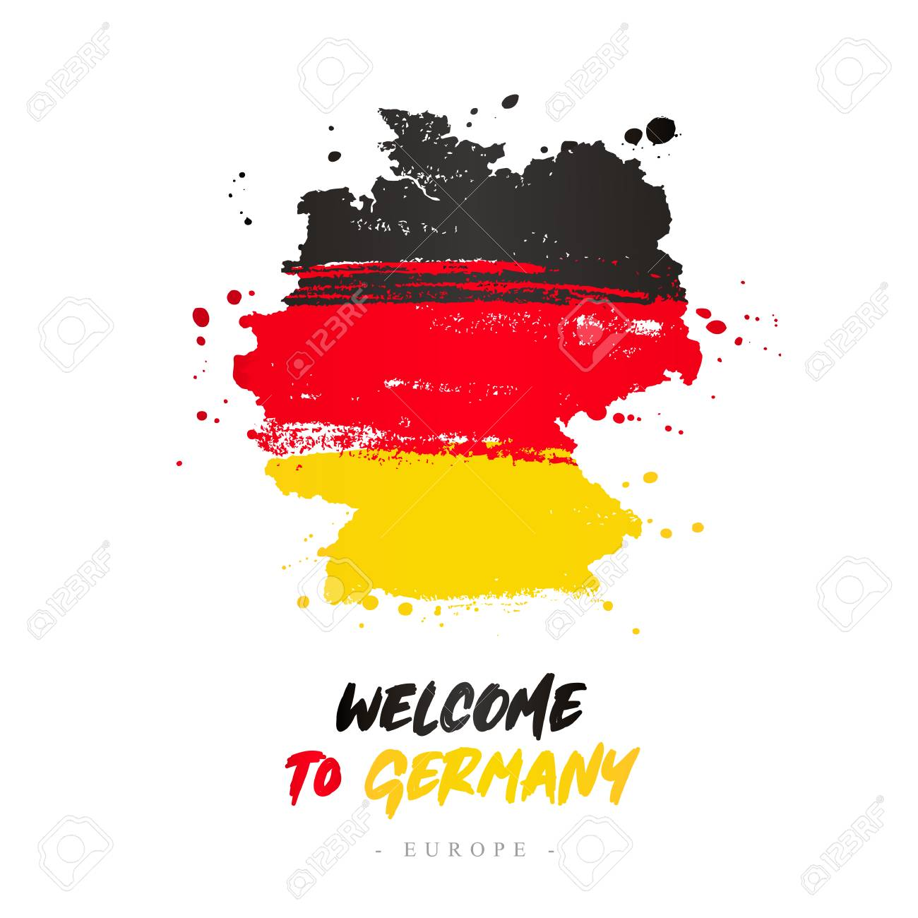 Welcome To Germany Europe Flag And Map Of The Country Of Germany