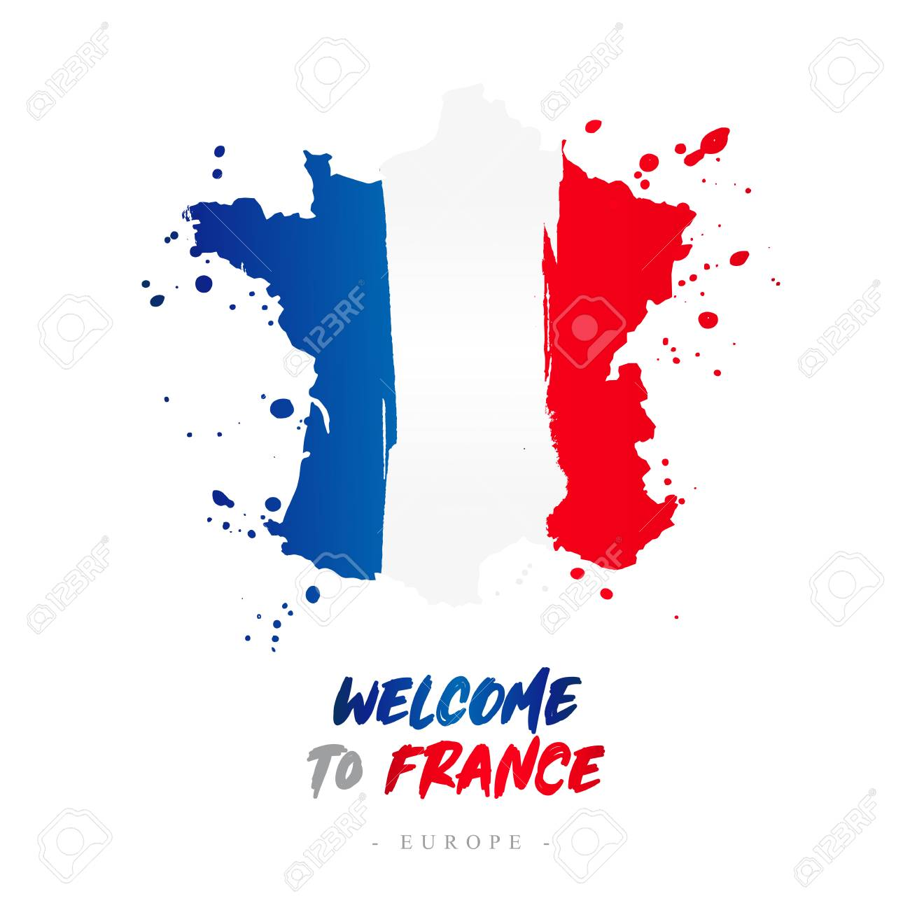 Welcome To France Europe Flag And Map Of The Country Of France