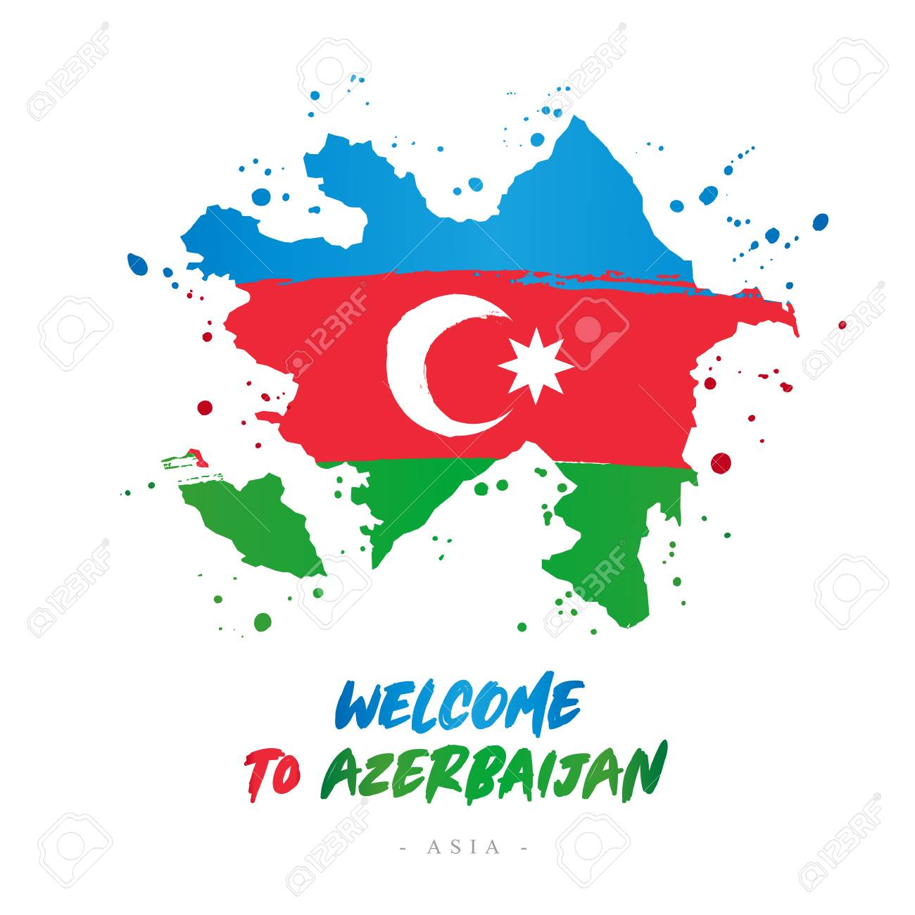 Welcome To Azerbaijan Asia Flag And Map Of The Country Of Azerbaijan Royalty Free Cliparts Vectors And Stock Illustration Image 104429063