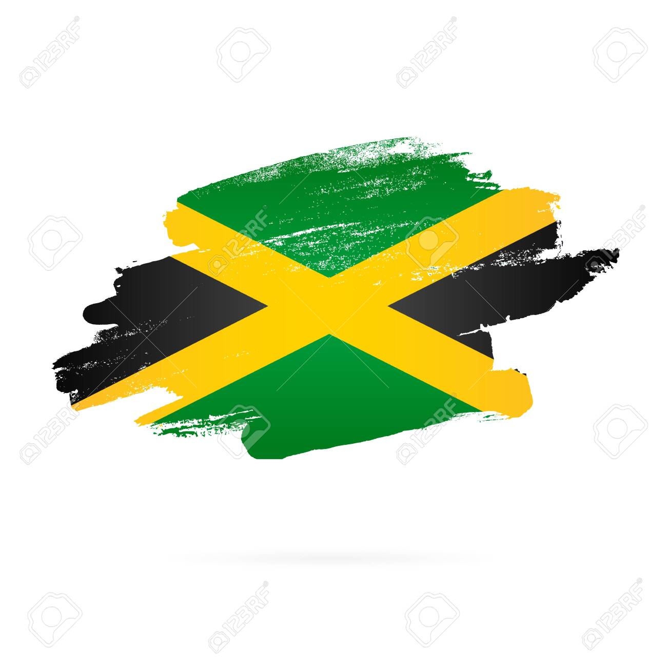 Jamaican Flag Vector Illustration On White Background Brush Royalty Free Cliparts Vectors And Stock Illustration Image 128155099
