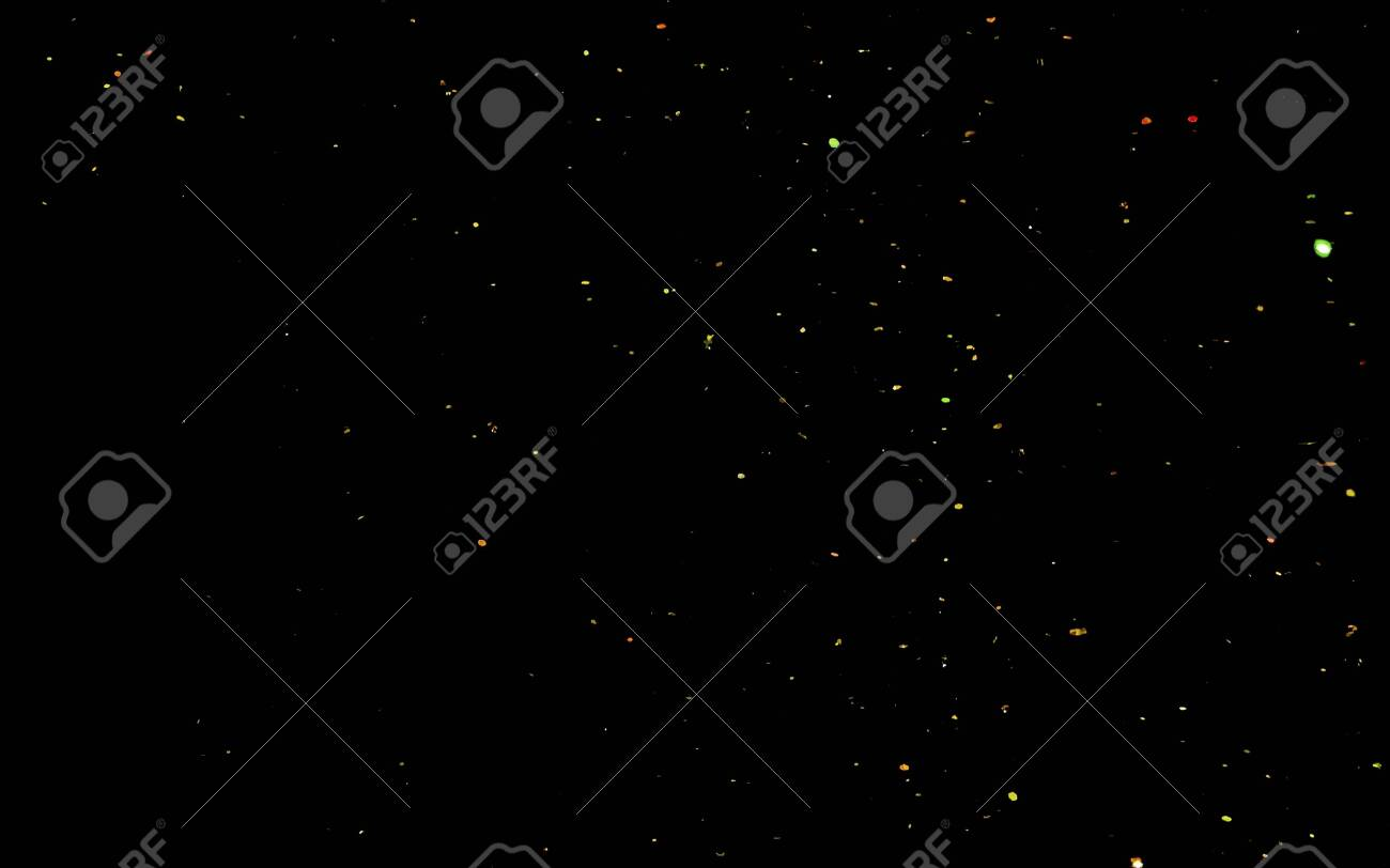 Golden confetti. Abstract background with golden shiny sparkling sparkles. Particles of gold dust sparkles. Flying and flickering particles of light. - 140887765