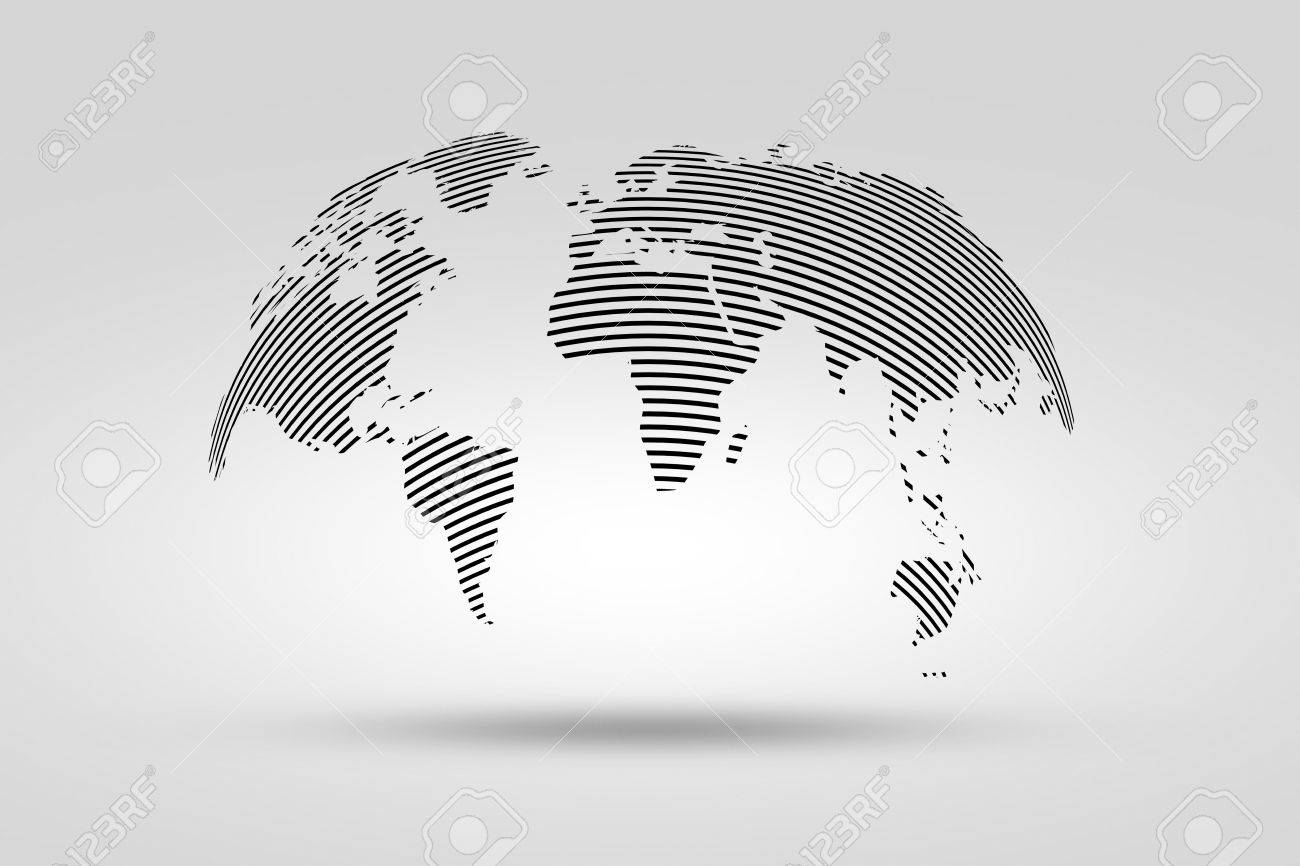 Simple black world map from thin line world map isolated on stock simple black world map from thin line world map isolated on gray background stock gumiabroncs Image collections