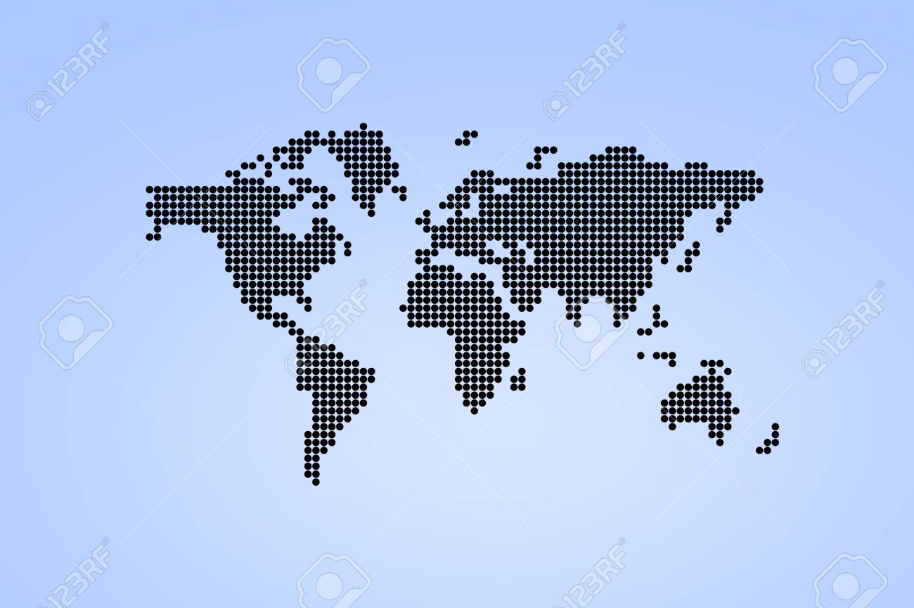 Black dotted world map world map with circles on light blue stock black dotted world map world map with circles on light blue background stock photo gumiabroncs Gallery
