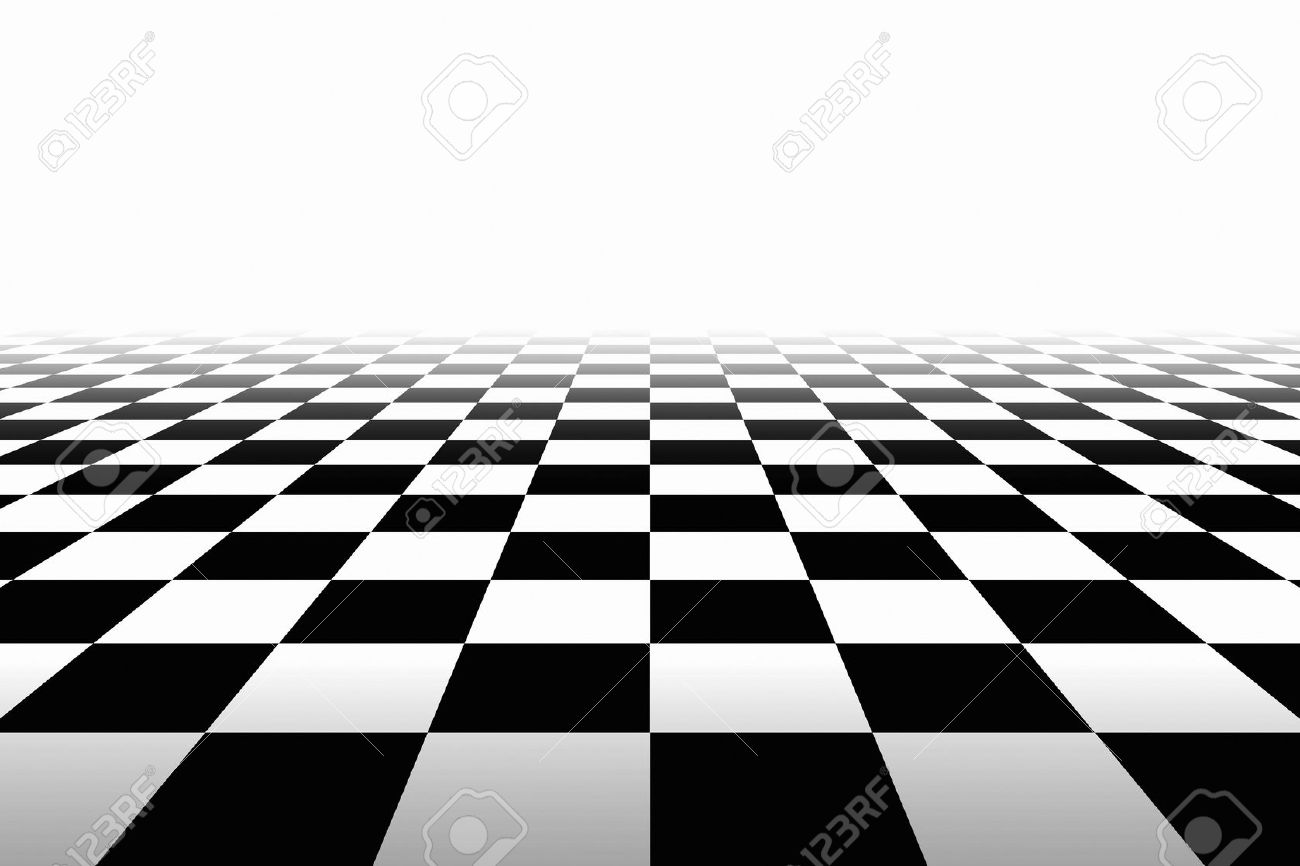 Checkered Background In Perspective. Squares - black and white Stock Photo  - 50201328