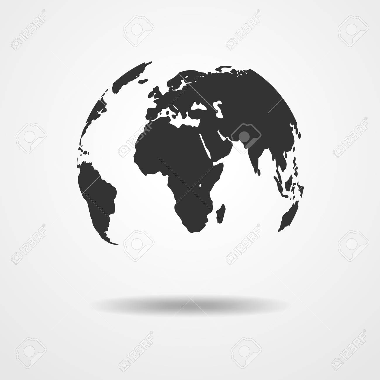 Black And White Vector Earth Globe Isolated On White. Black Simple Scheme  Of The Globe