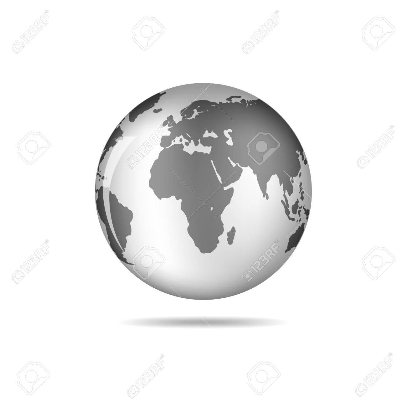Schwarz-Weiß-Vektor-Earth-Globus Auf Weiß Isoliert. Schwarz ...