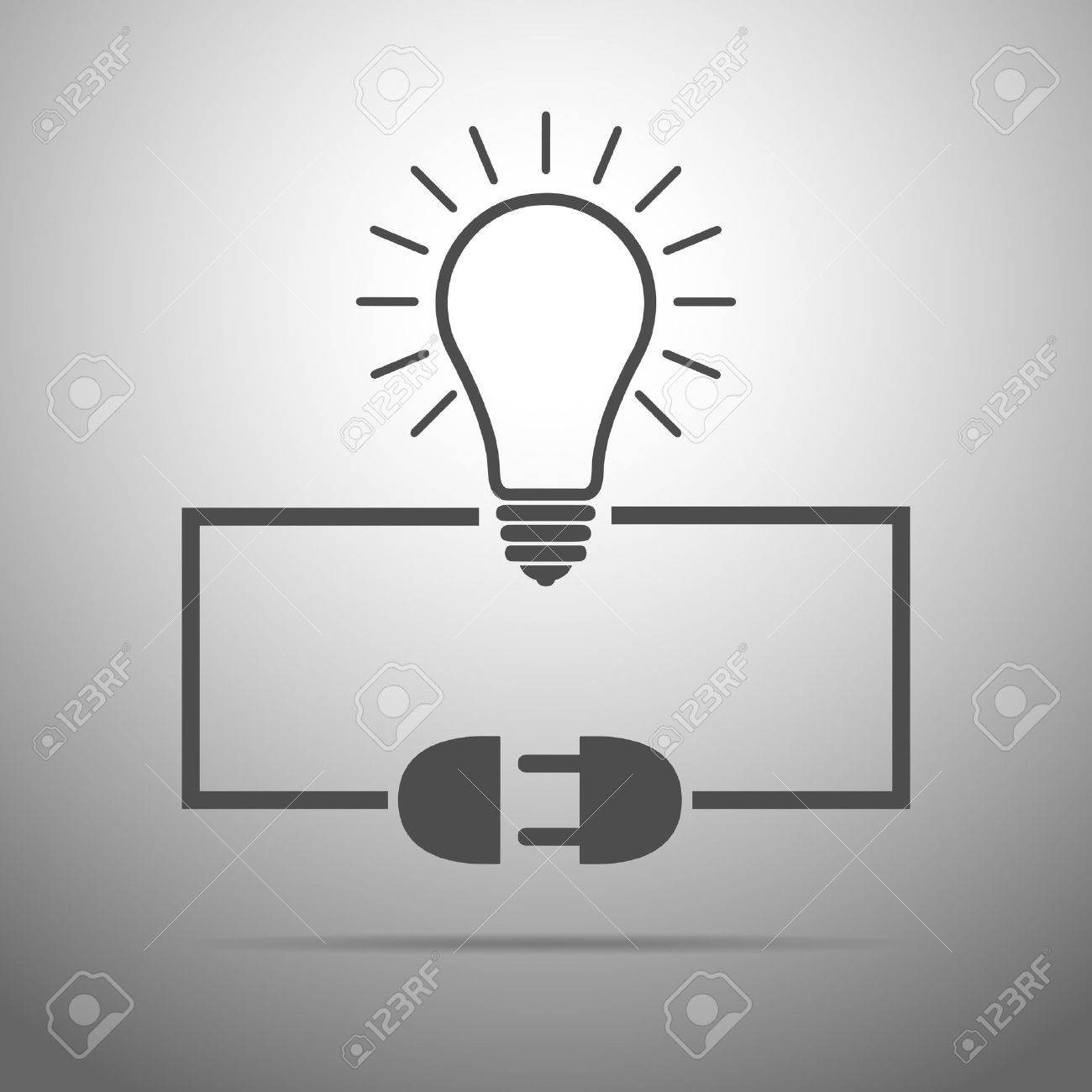 Light Bulb, Wire Plug And Socket - Illustration. Concept Connection ...
