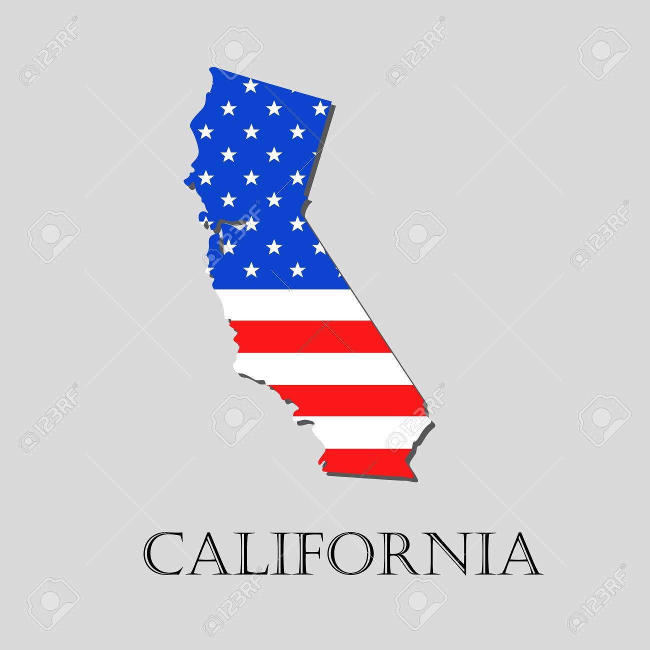 map of the state of california and american flag illustration rh 123rf com california state flag vector eps california bear flag vector art