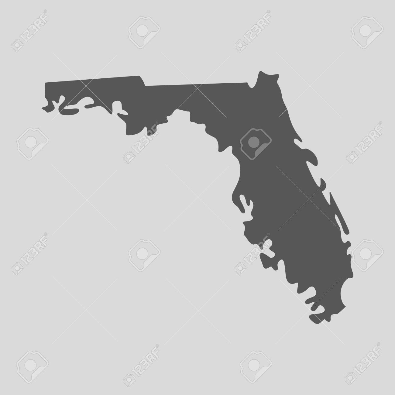 Map Of The State Of Florida.Black Map Of The State Of Florida Vector Illustration Simple