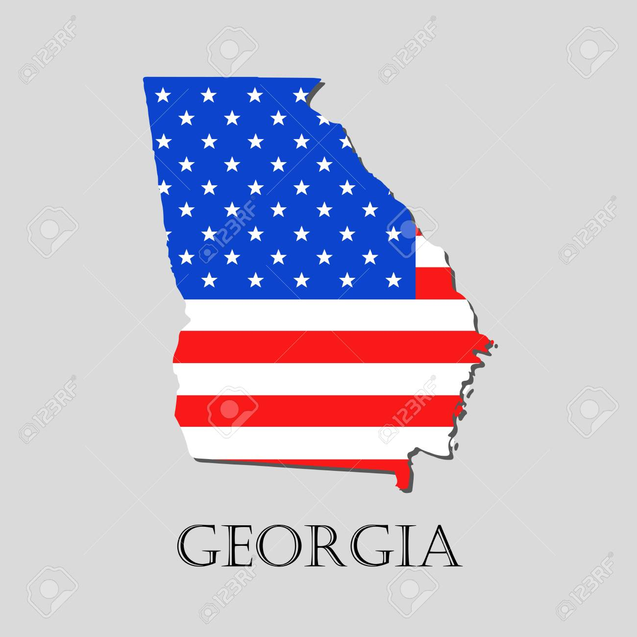 Map Of America Georgia.Map Of The State Of Georgia And American Flag Illustration America