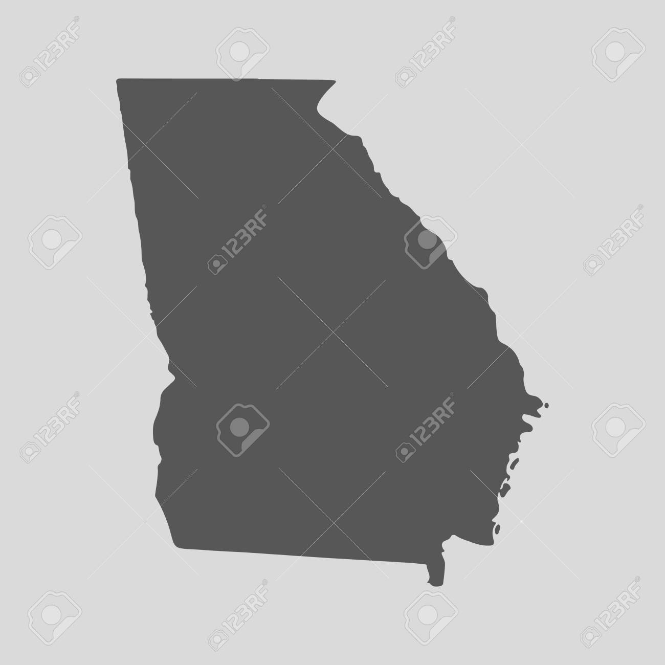 Map Of The State Of Georgia.Black Map Of The State Of Georgia Vector Illustration Simple