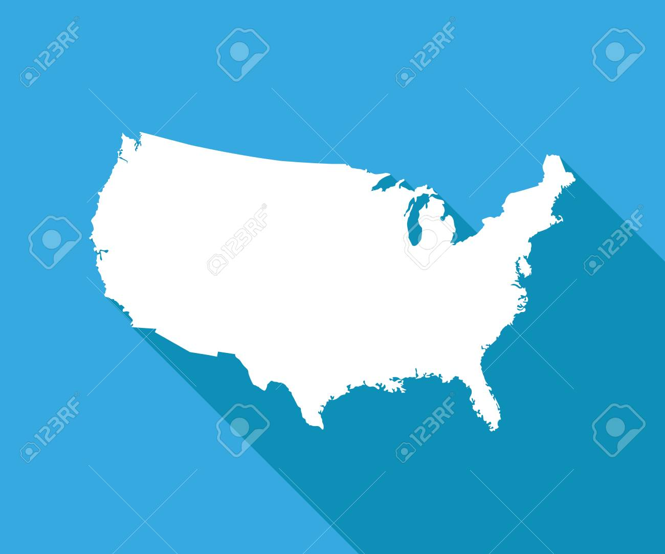White USA Map On Blue Background Vector Illustration Simple